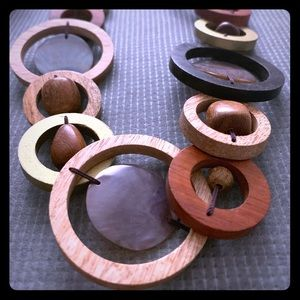 Anthropologie Wooden Circle and Bead Necklace